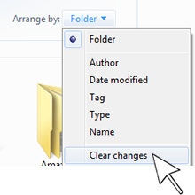 go back to viewing folders alphabetically